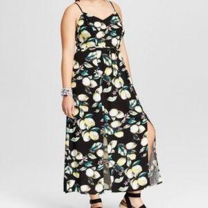 Plus Size Lemon Floral Print Maxi Summer Dress